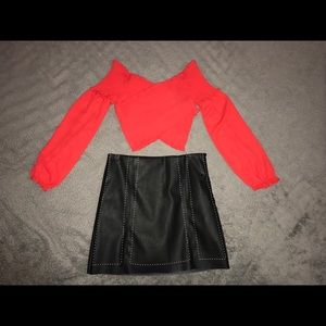 Red long sleeve smocked top